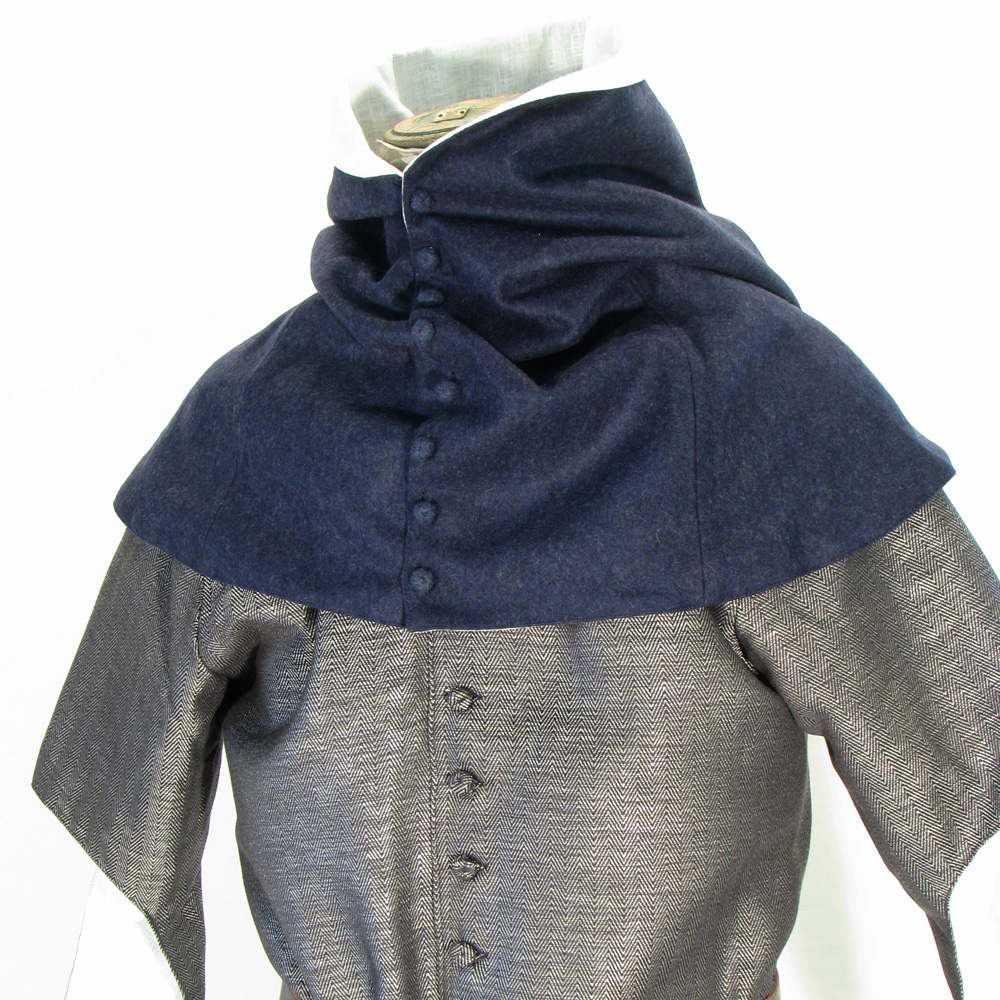 Late medieval liripipe hood with buttons in dark blue wool