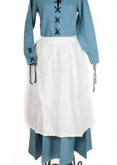 Medieval apron in white linen