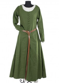 "Medieval dress ""Celeste with buttons"" in olive green twill wool"