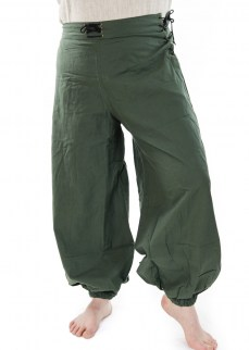 Fantasy baggy pants in dark green cotton/linen