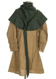 medieval hood in green wool