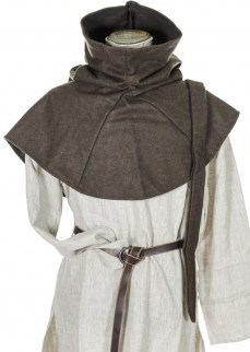 Medieal hood with liripipe in dark brown wool