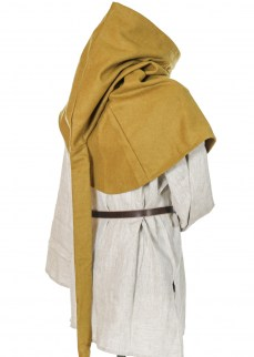 Medieal hood with liripipe in mustard wool
