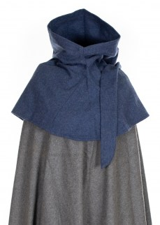Medieval hood in dark blue wool