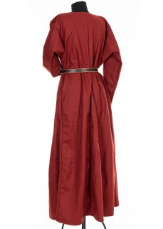 Woolen Dress in solid madder red diamond twill